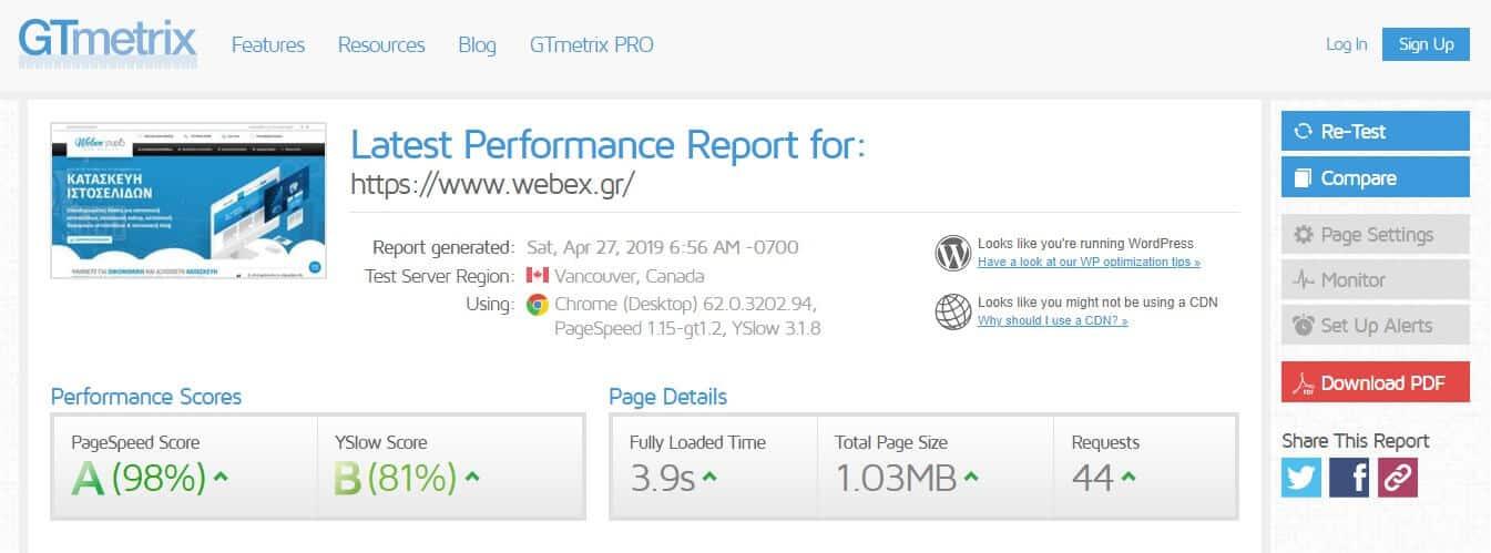 μετρήσεις ταχύτητας στο GtMetrix - webex studio