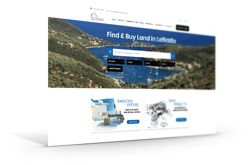 κατασκευή ιστοσελίδας για εταιρεία Real Estate στην Λευκάδα.
