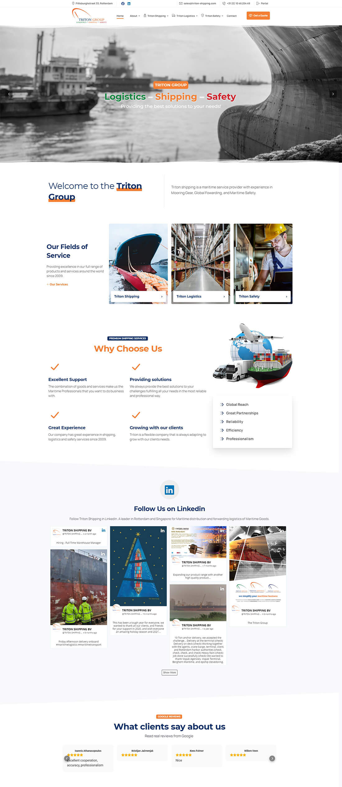 triton shiiping home page design
